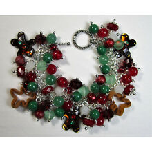 Altered Art Chunky Ginger Bread & Cookie Cutter Beaded Charm Bracelet