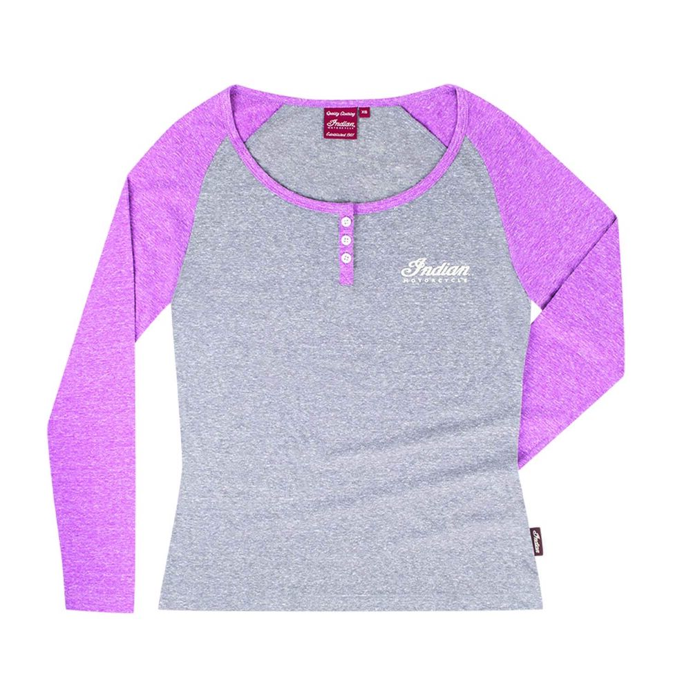 5a4eabd57435 Details about Genuine Indian Motorcycle Women's Purple Long Sleeve Icon  Henley Tee Shirt Small