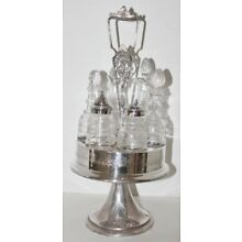 Vintage Victorian Silverplate Caster Set with 6 Etched Glass Cruet Condiments