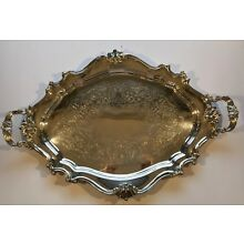 Reed & Barton Victorian Tea Serving Tray/Waiter Tray 6700 Silverplate