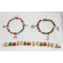 CHRISTMAS JEWELRY LOT - 3 BRACELETS - BEADED WITH CHARMS & ENAMEL HOLIDAY