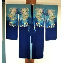 Antique Silk/Rayon Kimono and Sash with Chrysanthemums and Peonies * Blues