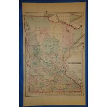 Vintage 1876 MINNESOTA Old Antique Original Atlas Map