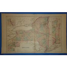 Vintage 1876 NEW YORK STATE MAP Old Antique Original OW Gray Atlas Map