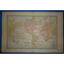 Vintage 1891 THE WORLD MAP ~ Old Antique Original Atlas Map 120718