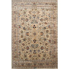 Vintage Palace Sized All-Over Floral 11x16 Signed Kashmar Persian Oriental Rug