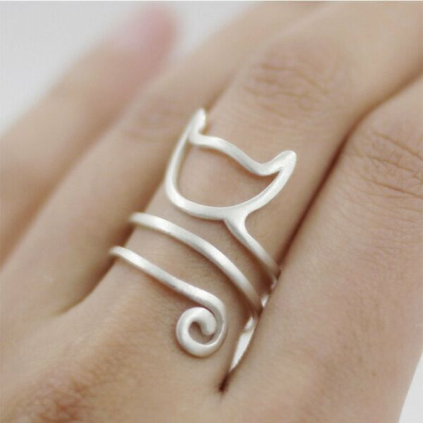 Women Lovely Cat Animal  Silver Plated Jewelry Open Finger Ring Adjustable Size
