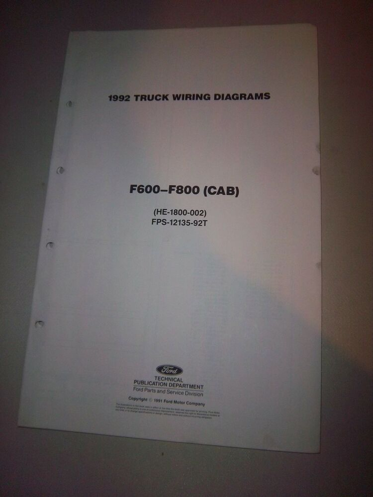 details about 1992 ford truck cab foldout wiring diagram f600 f700 f800  b600 b700 electrical
