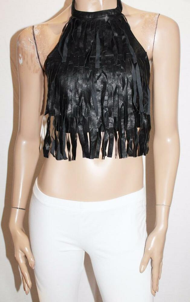 580d2b59a8a132 MISSGUIDED Brand Black Faux Leather Fringe Halter Top Size 8 BNWT  SQ49