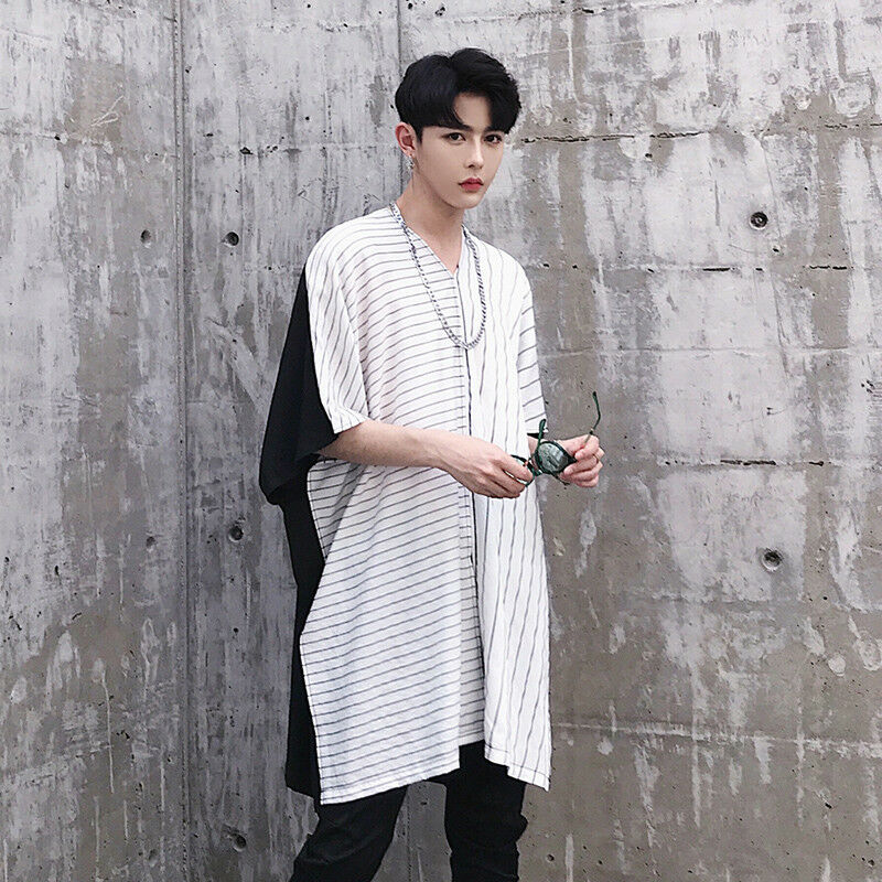 f9e332b916e Details about Men Loose Oversized Short Sleeve T-shirt Longline Striped Baggy  Tee Shirt Blouse
