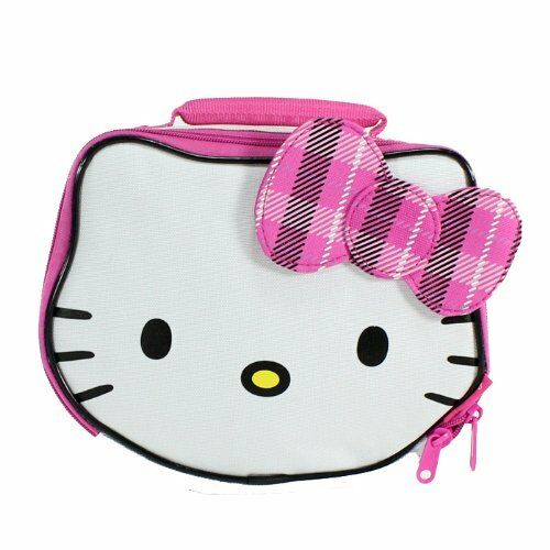 955d271cf607 Details about HELLO KITTY SANRIO White Lead-Free Insulated Lunch Tote Box  w  Plaid Bow NWT  20