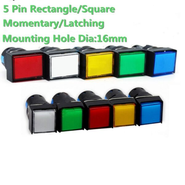 5V 12V 16mm On/off LED Light Momentary/Latching Push Button Switch NO+NC 5 Color