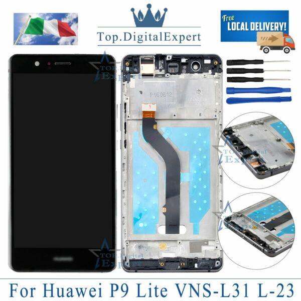 LCD HUAWEI P9 LITE VNS-L31 L23 schermo Originale TOUCH SCREEN Display FRAME NERO