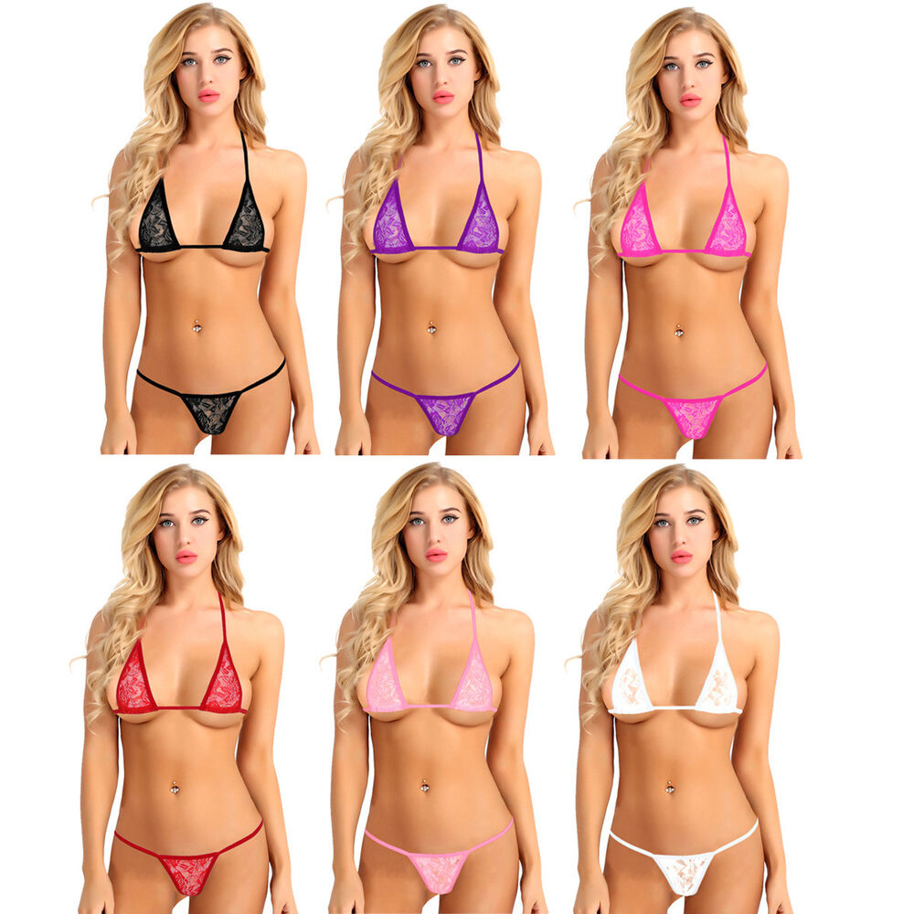 fa5a3d2f59 Details about Sexy Women Lace Micro Mini Bra G-string Bikini Set Swimsuit  Bathing Swimwear