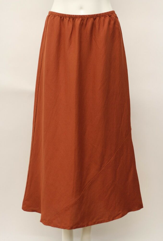 ca66d2771be17 Details about FLAX FALL LINEN RAYON LONG A-LINE SEAMLY SKIRT GINGER BLEND  RUST SMALL