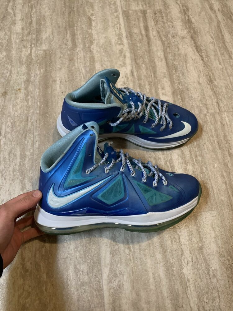 best service 9102b 61a75 NIKE LEBRON X 10 BLUE DIAMOND WINDCHILL TIDE POOL 542244-400 SZ 10   eBay
