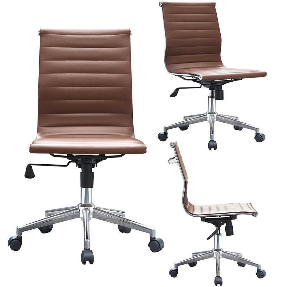 Brown Mid Century Modern Pu Leather Executive Office Chair Mid Back