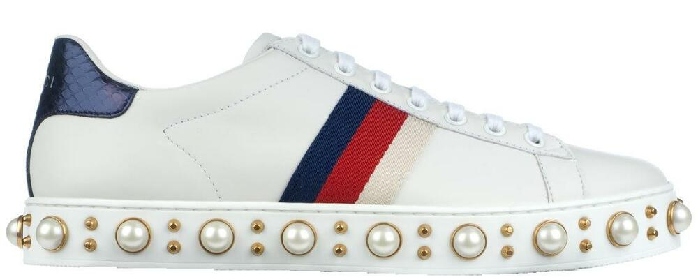 f22545ff6 Details about NEW GUCCI WHITE LEATHER ACE PEARL STUDDED WEB DETAIL SNEAKERS  SHOES G 39/US 9.5