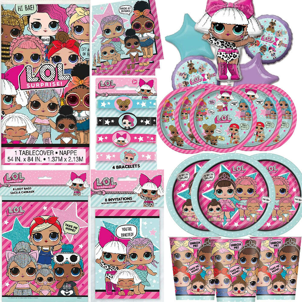 Details About LOL Surprise Birthday Party Girls Tableware Dolls Decorations Balloons