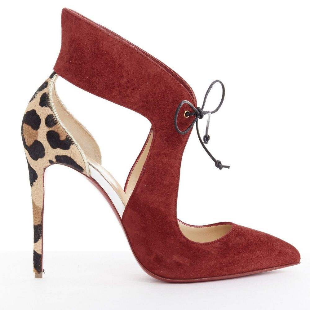 09135f3b4a52 Details about new CHRISTIAN LOUBOUTIN Ferme Rouge 100 red suede cut out  leopard heel pump EU40