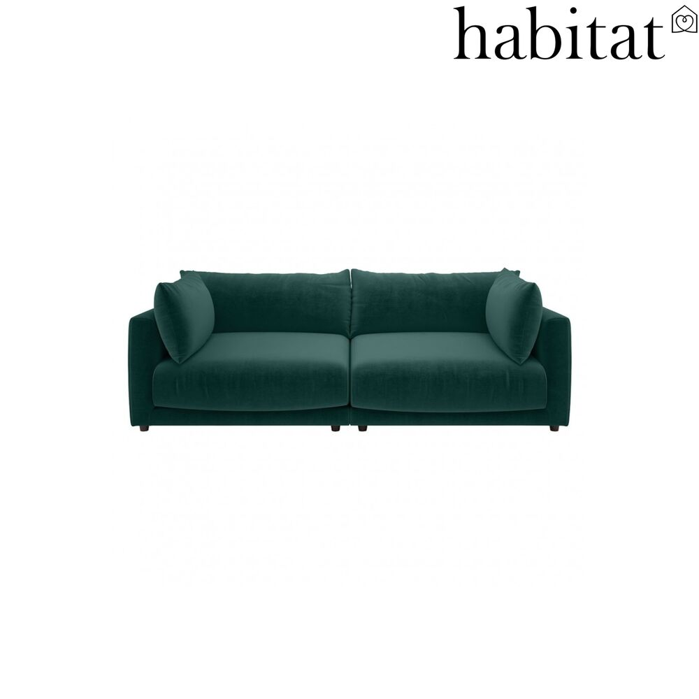 Details About Habitat Clemence 4 Seater Sofa Velvet Piave Emerald Green