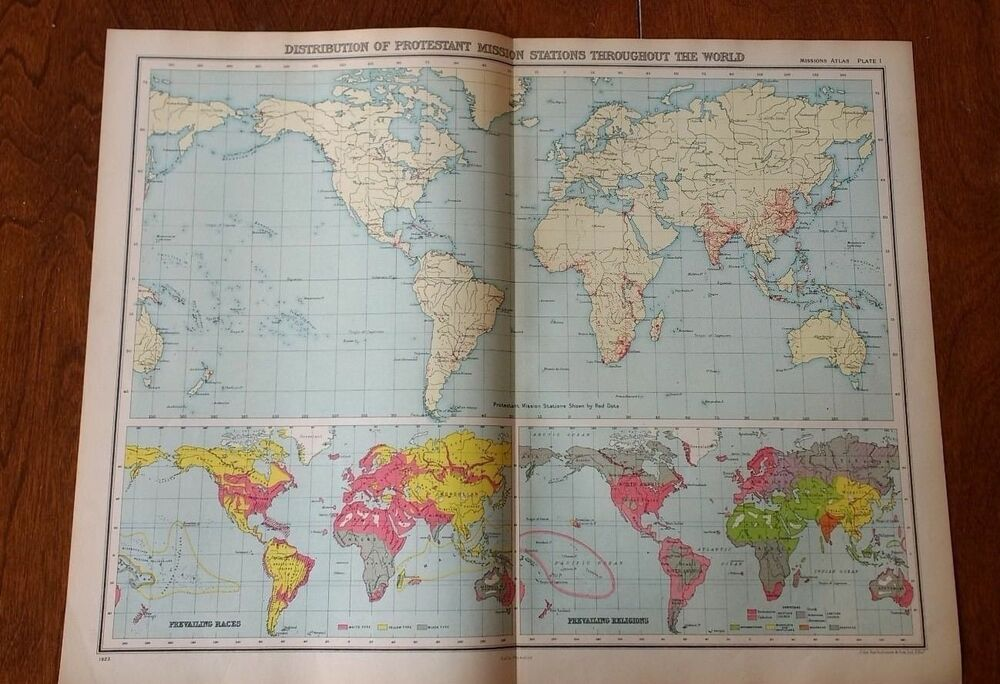 1923 World Map Of Protestant Missions High Quality Map By John