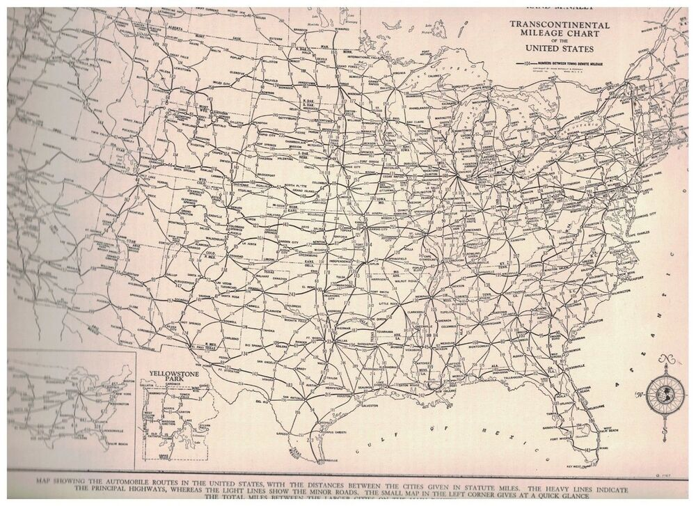 Mileage Chart United States - 1942 transcontinental mileage ...