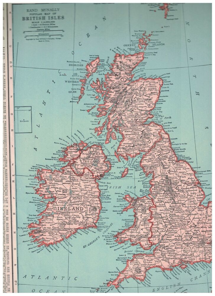 1942 Map of The British Isles - Map of Europe On Reverse - Rockall ...