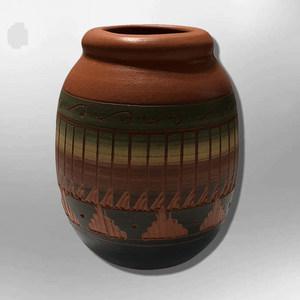 Navajo pottery designs North American Details About Handmade Indian Native Navajo Clay Etched Small Brown Long Oval Design Pottery Ebay Handmade Indian Native Navajo Clay Etched Small Brown Long Oval