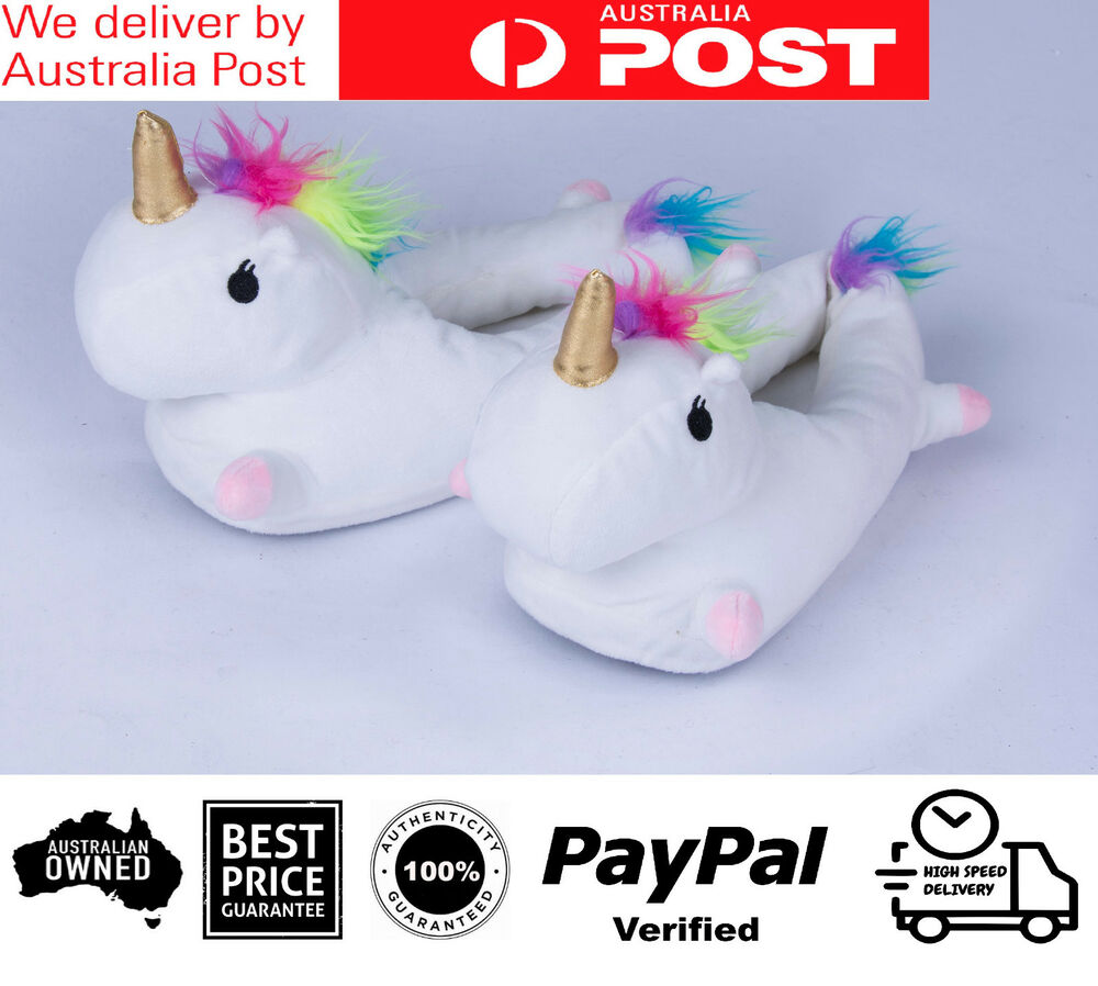 383bac4516dc Details about NEW KIDS 1xPair Unicorn Slippers Size S M L Unisex Soft Warm  Plush Fluffy Gift