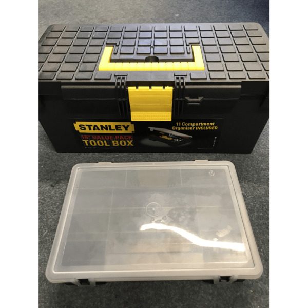 Stanley Toolbox 15 Inch Plastic Toolbox With Bit Tray Organiser 1-94-481