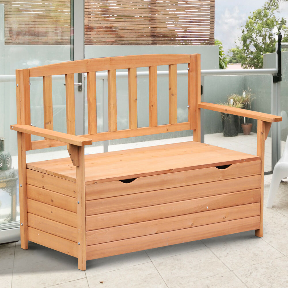 Outdoor Garden Storage Bench Patio Box All Weather Deck Fir Wood