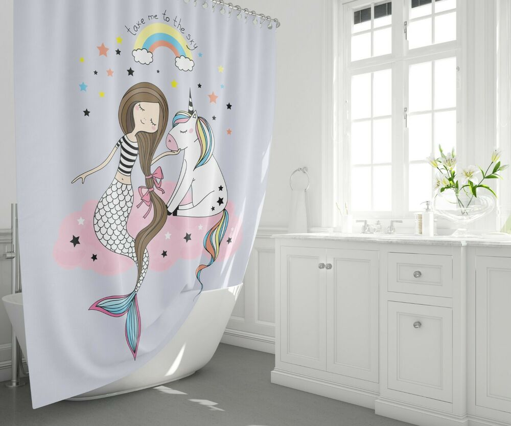 Details About Mermaid Shower Curtain Girly Curtains Unicorn Girls