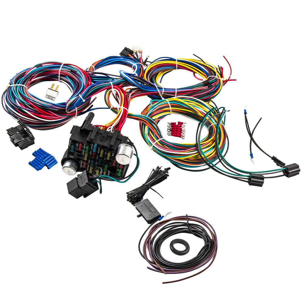 21 circuit wiring harness 17 fuse for hot rod universal. Black Bedroom Furniture Sets. Home Design Ideas