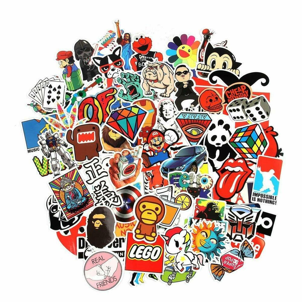 Details about 100 waterproof stickers laptop car luggage dope supreme hypebeast bape slaps
