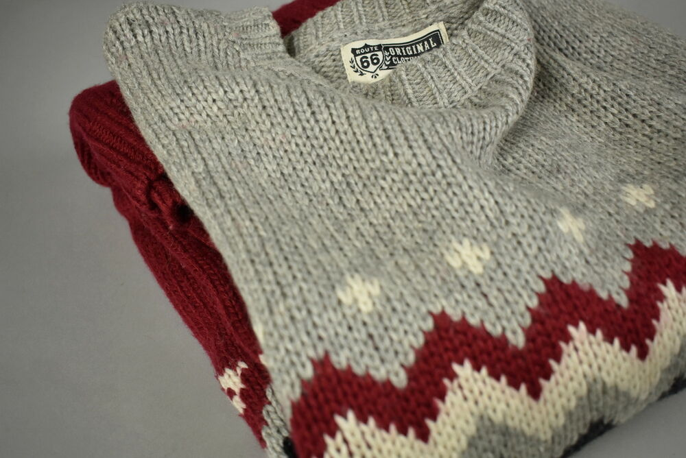 fbd58ed333f0 Details about ROUTE 66 Men s LARGE Wool Blend Chunky Knitted Sweater    Pullover RCS11660
