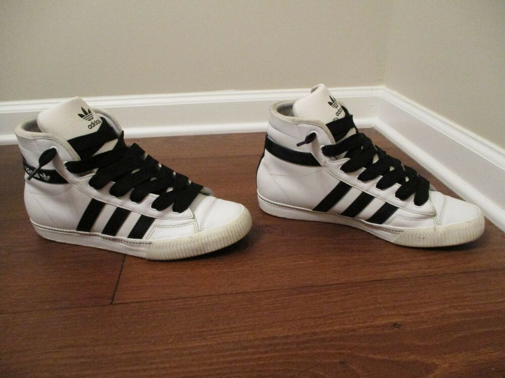 buy online 5c8d5 641e7 Details about Used Worn Size 10 Adidas Aditennis Hi Lux Shoes White  Black