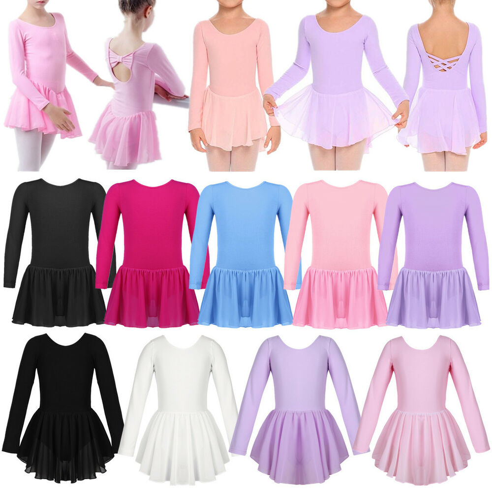 d4a6b85d5 Girls Ballet Leotard Dress Gymnastics Long Sleeves Tutu Skirt ...