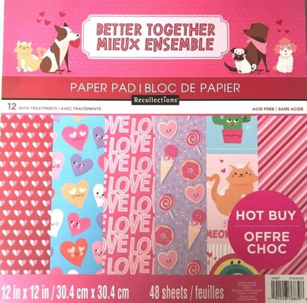 ~BETTER TOGETHER~12X12 SCRAPBOOKING CARDSTOCK PAPER PAD 48 LOT~RECOLLECTIONS~