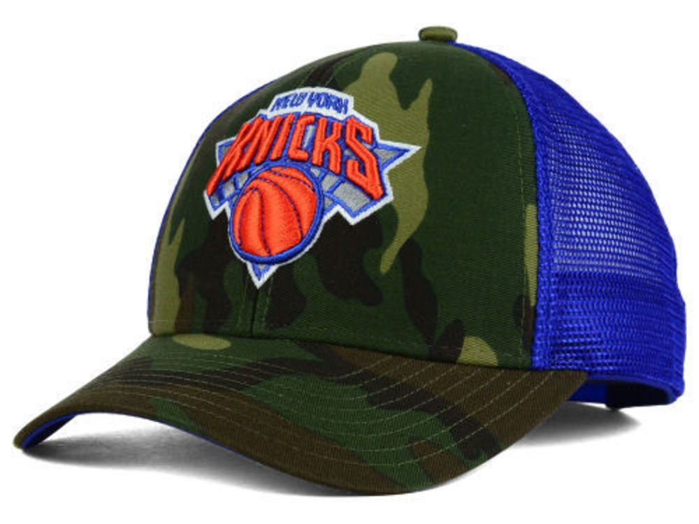cc9760d24f81d Details about NEW YORK KNICKS Adidas Camo and Royal Blue Trucker NBA  Snapback Hat Sun Cap