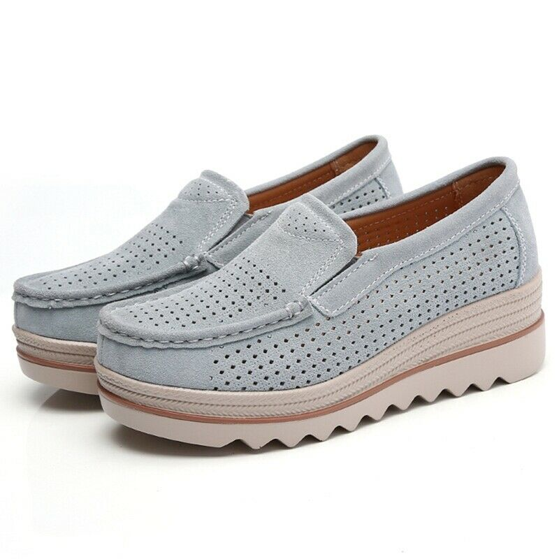 aed8e1bcf4a Details about Women Suede Hollow out Wedge Platform Creepers Casual Comfy Shoes  Slip On Loafer