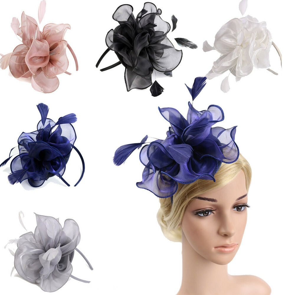 24b25ee48d6cd Details about New Handmade Large Women Feather Floral Hair Fascinator Hat  Headband Accessories