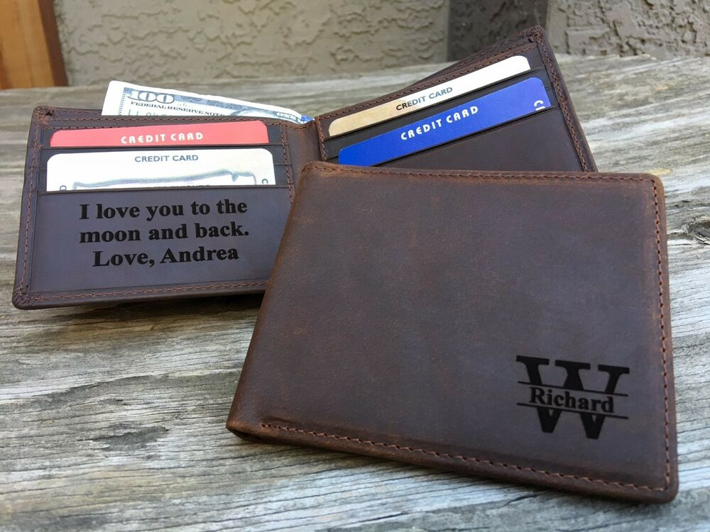 8fa619a92148 Details about RFID Monogrammed Mens Leather Bifold Wallet Gift for Boyfriend  Dad Husband CH