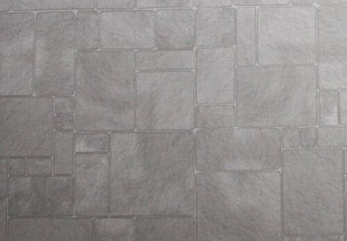 Faux Grey Slate//Worn Flagstones Dollhouse Flooring Paper #WCPP97