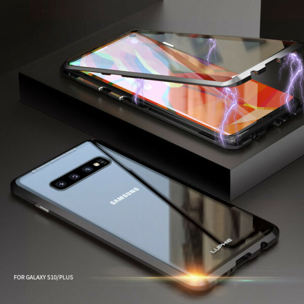 For Samsung Galaxy S10 Plus 360° Magnetic Adsorption Tempered Glass Case Cover