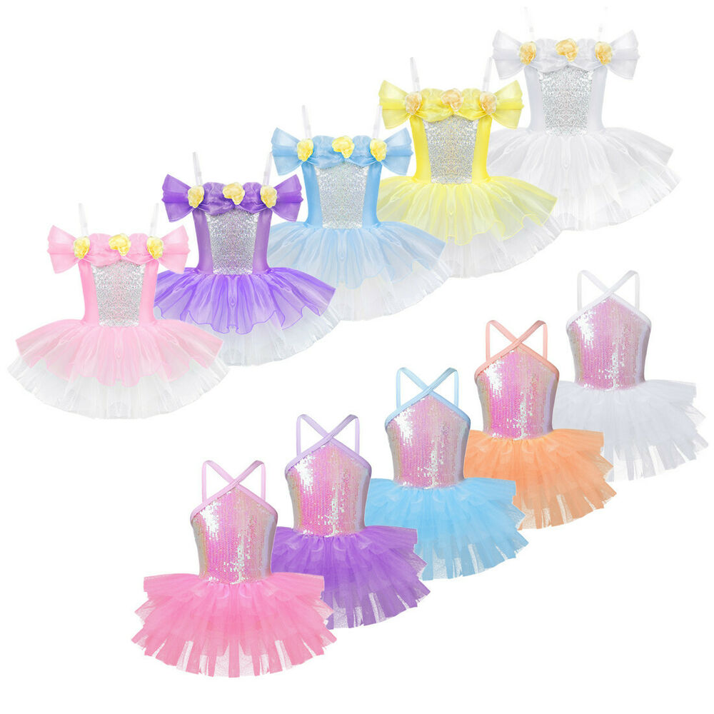 d1a52052d032a Details about Girls Ballet Sequins Tutu Dress Ballerina Leotard Shiny  Skirts Dancewear Costume