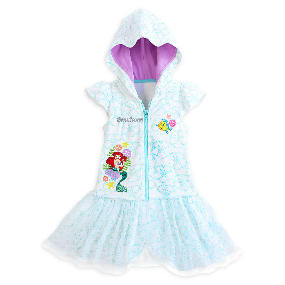 6addd3d1b1 Details about The Little Mermaid Ariel Swimsuit White Cover-Up Hooded Robe  3 Disney Store NWT