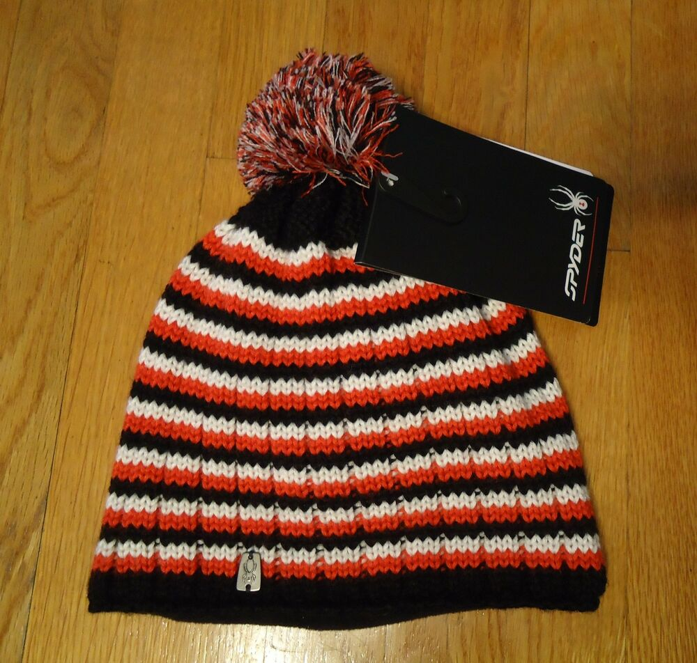 fc8dd8460a9 Details about NWT SPYDER BEANIE HAT BOYS SIZE BLACK RED WHITE STRIPED