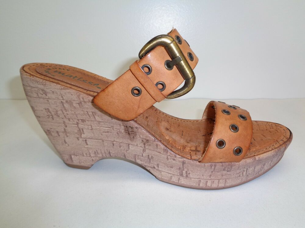 0dc6197843 Details about Matisse Size 8 BROADWAY Brown Leather Wedge Heels Sandals New  Womens Shoes