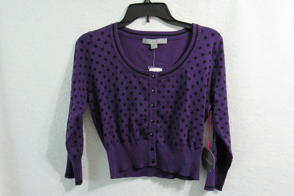 ca36de473aa Details about New XXI Forever 21 Purple polka Dot Sweater Cardigan Size  Large